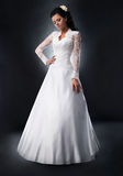 Bride in white wedding dress. Royalty Free Stock Images