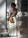 Bride in white wedding dress stock photo