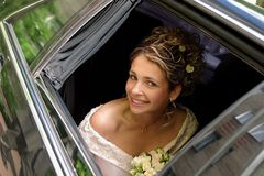 Bride in white wedding dress Stock Images