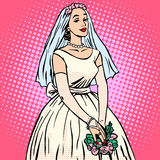 Bride in white wedding dress pop art retro style Stock Images