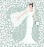 Bride in white wedding gown Stock Photo