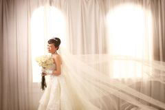 Bride by window Royalty Free Stock Image
