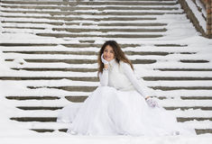 Bride in winter Royalty Free Stock Photos