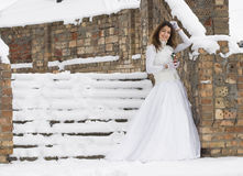 Bride in winter Royalty Free Stock Image