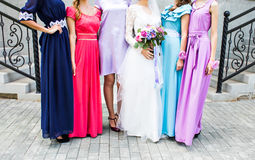 Free Bride With Bridesmaids Outdoors On The Wedding Day Royalty Free Stock Photos - 70026948
