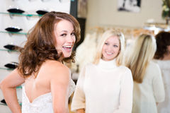 Bride: Woman Excited Over Wedding Gown Stock Image