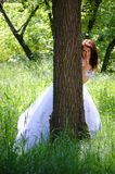 The bride in wood Stock Photo