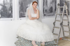 Bride in workshop of the artist Royalty Free Stock Image