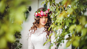Bride with wreath Stock Photos
