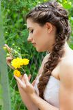 Bride with yellow rose Royalty Free Stock Image