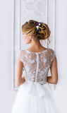 Bride. A young girl in  white dress. Stock Photo
