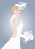 Bride. Young bride in a white dress in a hat and with a bouquet of flowers Stock Photography
