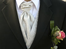 Bridegroom. A bridegroom with a silk cravat and flower decoration on his tuxedo stock photos