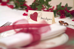 Bridegroom. Place card on decorated table Royalty Free Stock Photo