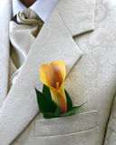 Bridegroom. S buttonhole with flowers decorations Royalty Free Stock Photos