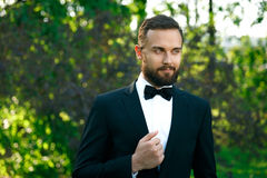Bridegroom bewhiskered in a park. In spring stock photography