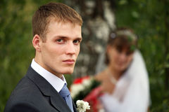 Bridegroom and Bride. Bride and Bridegroom in walk, Russia, Summer stock photos
