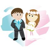 Bridegroom and bride. On background with abstract heart Stock Photo