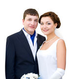 Bridegroom and bride, clipping path Royalty Free Stock Image