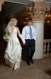 Bridegroom and bride dancing. At their romantic place Stock Image