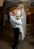 Bridegroom and bride dancing Royalty Free Stock Photo