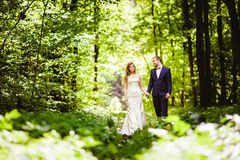 Bridegroom and bride in the spring forest Royalty Free Stock Image