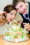 Bridegroom and bride with wedding cake. A bridegroom and a bride are going to bite their wedding cake stock photography