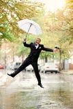 Bridegroom jumping Royalty Free Stock Images