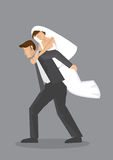 Bridegroom Piggyback Bride Vector Cartoon Character Illustration Stock Photo