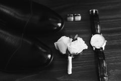 Bridegroom`s wedding set in black and white. 1 stock photography