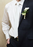 Bridegroom slips a coat over his shoulder Royalty Free Stock Image