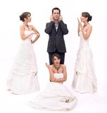 Brides. 3 brides and 1 groom, beautiful couple stock photo