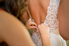 Brides back drees. Brides back dress with lace up back Royalty Free Stock Images