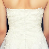 Brides back in wedding dress Royalty Free Stock Photos