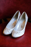 Brides bling shoes Royalty Free Stock Photography