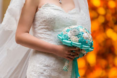 Brides Bouquet. A bride holds her bouquet at wedding Royalty Free Stock Image