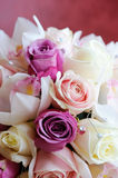 Brides bouquet close-up. Brides bouquet with pink and white roses Royalty Free Stock Images
