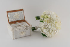 Brides Bouquet and Jewelry Stock Images