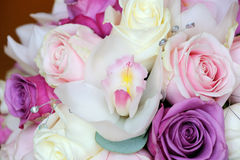 Brides bouquet of orchid and roses Royalty Free Stock Photo