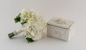 Brides Bouquet and Satin Jewelry Box Stock Photography