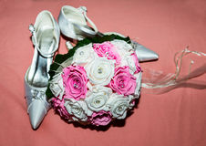 Brides Bouquet and Shoes Stock Photography