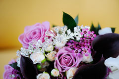 Brides bouquet and tiara Royalty Free Stock Photos