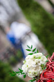 Brides bouquet of white rose on wedding day Royalty Free Stock Photography