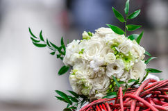 Brides bouquet of white rose on wedding day Stock Image