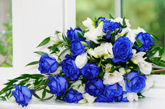 Brides bunch of blue roses Royalty Free Stock Photo
