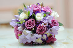 Brides colourful bouquet. Brides colourful bouquet on a table Stock Images