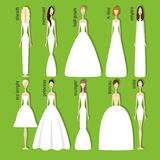 Brides in different dresses. Brides in different styles of wedding dresses. Vector illustration in flat style. Perfect bridal gowns guide Royalty Free Stock Photos