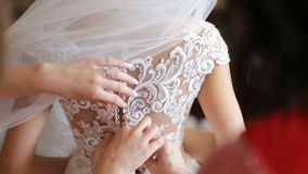 Brides Dress Back. Beautiful brunette bride dress up, view from back with bridemaids stock footage