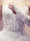Brides dress corset. Stock Photos