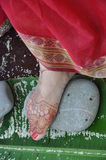 Brides feet in Vedic wedding Royalty Free Stock Photos